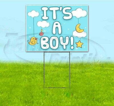 Its A Boy Sign (ITS A BOY 18x24 Yard Sign WITH STAKE Corrugated Bandit USA GENDER)
