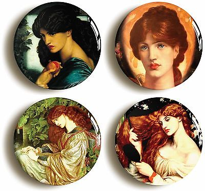 rossetti pre-raphaelite badge button pin set (size is 1inch/25mm diameter)