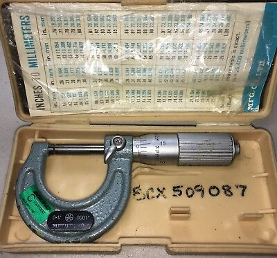Mitutoyo Carbide Tipped 103-135 Micrometer 0-1 Inch.0001 Grads Friction Thimble