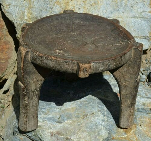 Antique Wahehe Tribe Hehe People Carved Wood Three Legged Stool Tanzania, Africa
