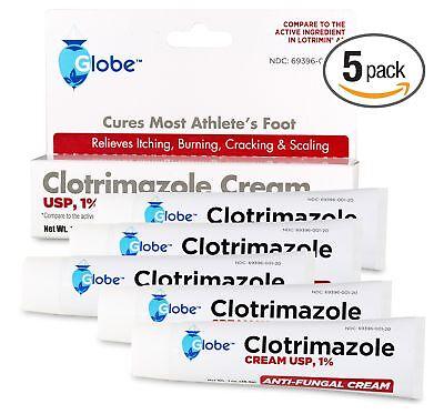 5 pack Clotrimazole Antifungal Cream 1% USP 1.0 oz Compare t