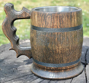 Wooden Beer Mug Tankard With Metal Insert 0.65L  Darkened Tinted Oak Handmade