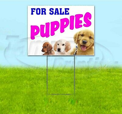 Puppies For Sale 18x24 Yard Sign With Stake Corrugated Bandit Business Adoption