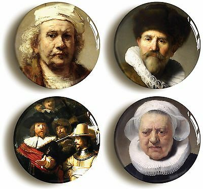 rembrandt badge button pin set (size is 1inch/25mm diameter) art dutch master