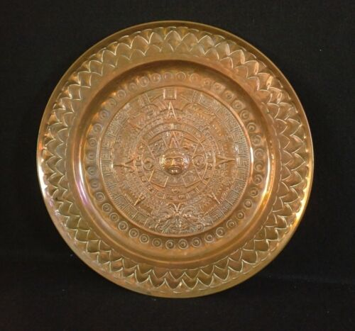 Vintage Mayan Aztec Calendar Vintage Mexican Copper Repousse Plate Wall Hanging
