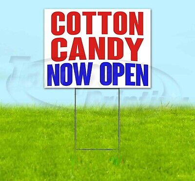 Cotton Candy Now Open Yard Sign Corrugated Plastic Bandit Lawn Decorations