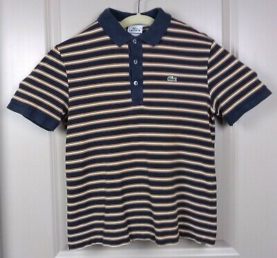 Lacoste Polo size 4 (small) navy/gold/white stripes