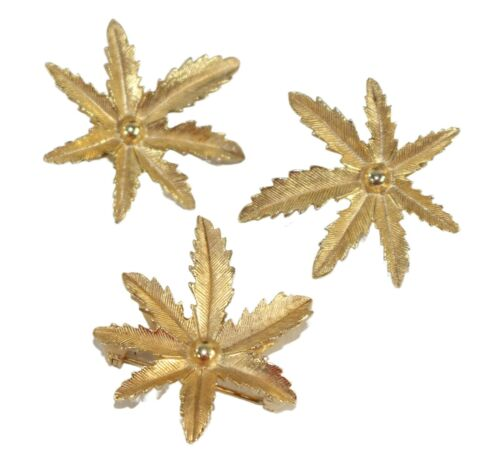 Sarah Coventry Gold Tone 7 Leaf Brooch & Clip Earrings Set Vintage Signed