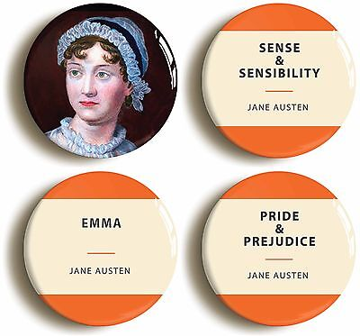 4 x jane austen badges buttons pins (1inch/25mm diameter) pride & prejudice emma