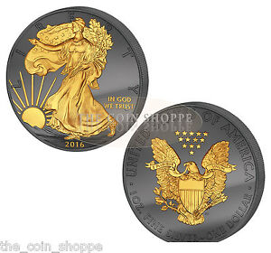 SILVER-EAGLE-GOLDEN-ENIGMA-PREMIUM-2016-1-oz-Silver-Coin-RUTHENIUM-24K-GOLD