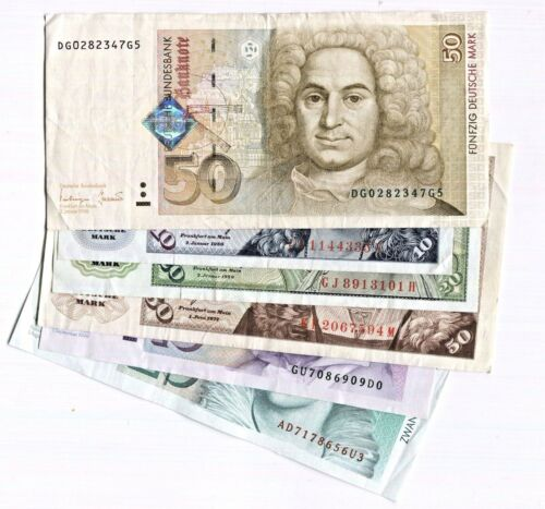 LOT OF 6 GERMAN Banknotes 2 Different Issues of 10 20 50 MARK - 160DM Still Good