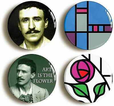 rennie mackintosh art deco badge button pin set (size is 1inch/25mm diameter)