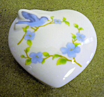 Heart Shaped Trinket Jewelry Gift Vanity Box Blue Bird Flower Porcelain