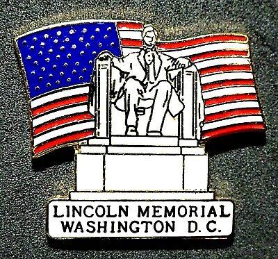 ^^^BEAUTIFUL VINTAGE LINCOLN MEMORIAL WASHINGTON DC  PIN BADGE STATUE - Lincoln Memorial Statue