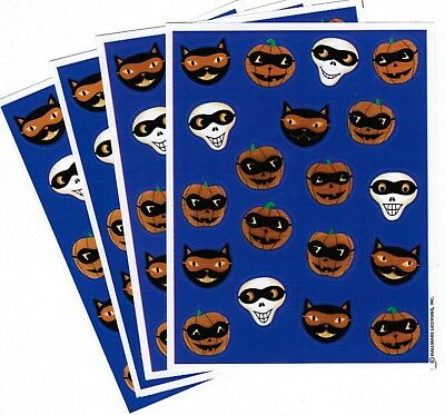 4 Sheets Halloween Scrapbook Stickers! Masked Skeleton Jack o Lantern Black - Halloween Cat Mask Craft
