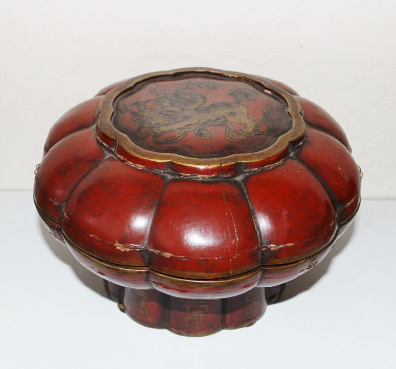 Antique Chinese Foo Dog Footed Wood Basket Red Lacquer Signed Late 1800