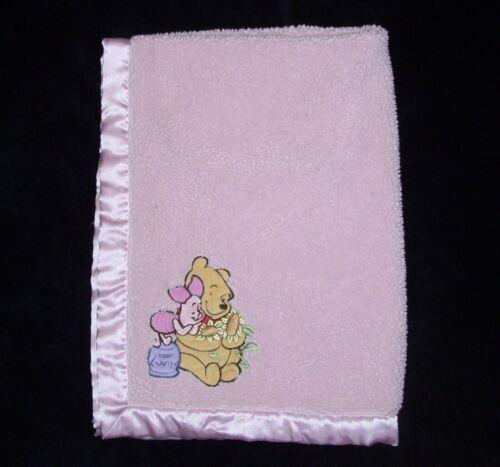 Disney Baby Pooh Piglet Sunflower Blanket Sherpa Satin Trim Back Lovey