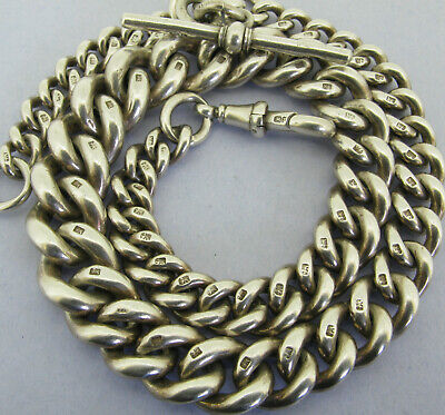 Very Heavy Victorian Solid Sterling Silver Albert Pocket Watch Chain Bir 1891