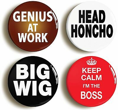 boss manager badge button pin set (size is 1inch diameter) egotist megalomaniac