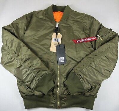 Alpha Industries Slim Fit Bomber Jacket MA-1 Olive Green Mens Size M Reversible