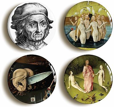 hieronymus bosch badge button set (size is 1inch/25mm diameter) earthly delights