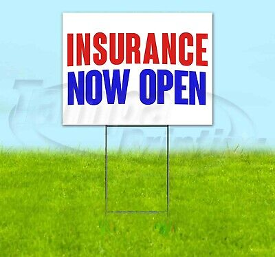 Insurance Now Open Yard Sign Corrugated Plastic Bandit Lawn Decoration Usa