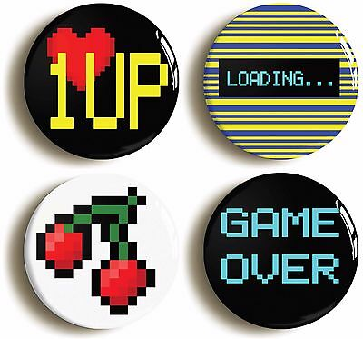 retro gamer eighties geek badge button pin set (size is 1inch/25mm diameter)