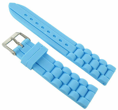 Light Blue Rubber Strap - 18mm Trendy Light Blue Rubber Silicone Waterproof Watch Band Strap
