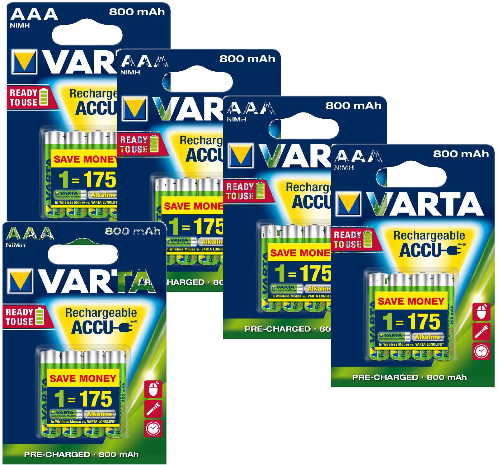 Varta AAA Micro Akku Accu NiMH Batterien 800 mAh für z.B. Phone Akku Telefon