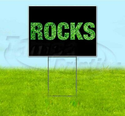 Rocks 18x24 Yard Sign With Stake Corrugated Bandit Usa Business Landscaping