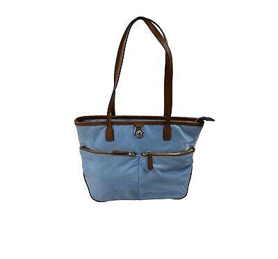 Michael Kors Light Blue Nylon Shopper Tote Bag Handbag Purse Shoulder Bag