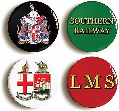 4 x british railways badge button pins (1inch/25mm diamtr) lner lms southern gwr