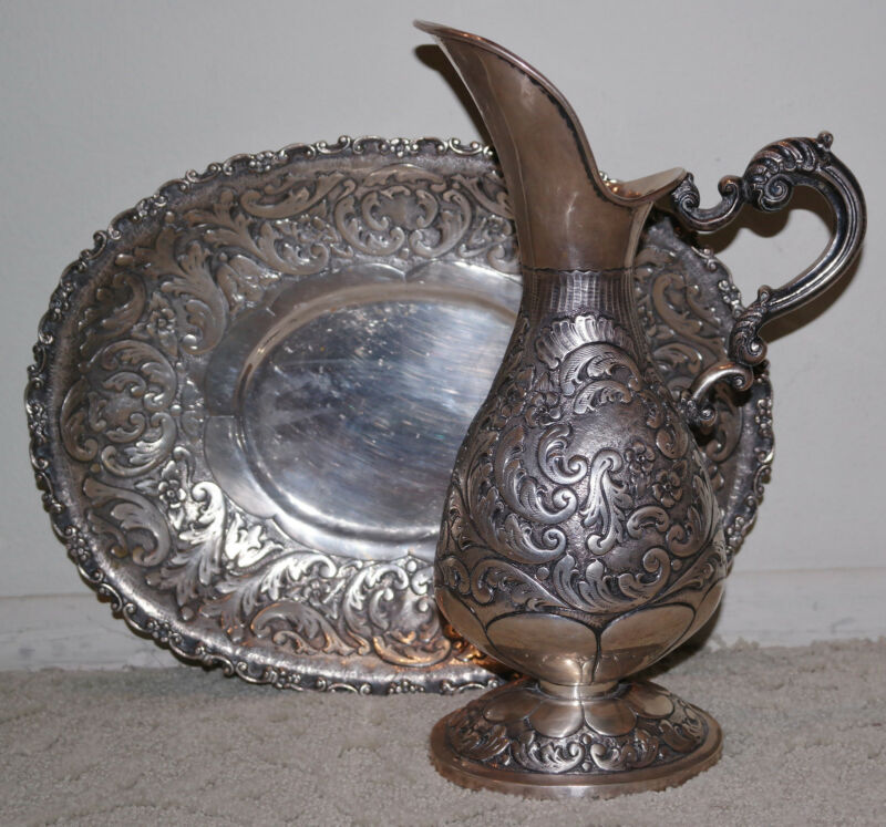 Antique Spanish Colonial Silver 835 Large Repousse Pitcher &Tray Platter
