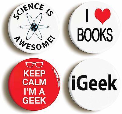 4 x geek badge button pins (1inch/25mm diameter) geek chic school disco sexy