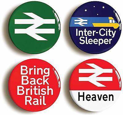 4 x british rail railways enthusiast badges buttons pins (1inch/25mm diameter)