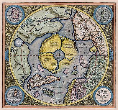 1595 Flat Earth Map North Pole Septentrionalium Terrarum Wall Art Poster Print