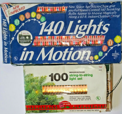 Vintage Christmas Lights In Motion Foremost Industries Indoor Outdoor 240 LOT