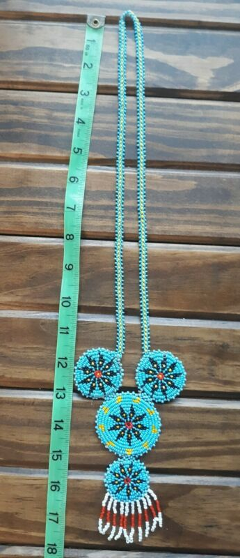 Vtg Native American Turquoise Blue Handmade Seed Bead Medallion Necklace Leather