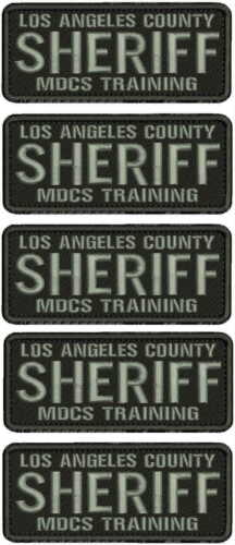LA COUNTY SHERIFF M T EMB PATCH  2X5 HOOK ON BACK BLK/GRAY
