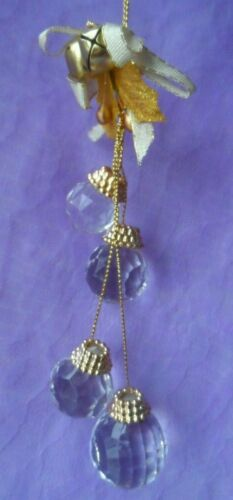 Victorian Chic Christmas Ornament - 4 CLEAR FACETED ACRYLIC HANGING BALLS
