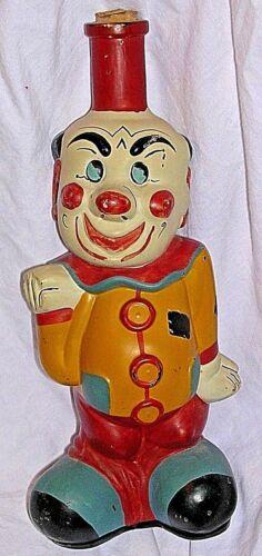 "Vintage 11"" Tall Clown Viarengo 1950s Italy Hand Painted HTF Glass Wine Bottle"
