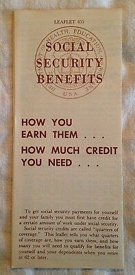 Rare 1959 Social Security Benefits Leaflet 855