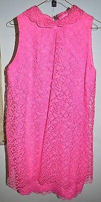 1960's Pink Lace Mod Party Cocktail Shift Dress Size Medium Vintage