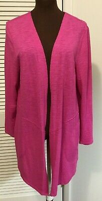CHICO'S The Ultimate Tee Pink  Long Cardigan Open Front Jacket Size 1