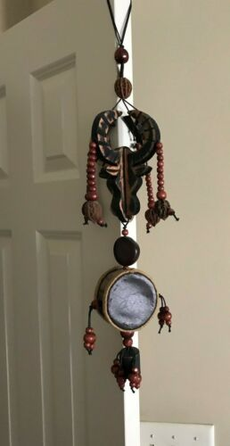 """Unique Chinese, Wood, Drum, Bell, Coin, Bull, Beads, Hanging~ 27"""" Long"""