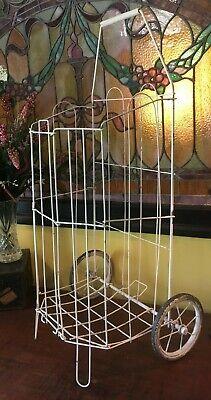 Vintage Metal Rolling Market Grocery Shopping Basket Cart Collapsible 1950s