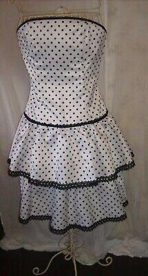 Gunne Sax dress Jessica Mcclintock dotty rara 80s size 8, 10 white black