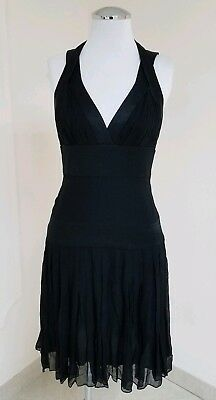 MARCHESA NOTTE FABULOUS BLACK SHEER/SILK PLEATED FLAIR DRESS W/STRAPS SZ 0 Fabulous Sheer