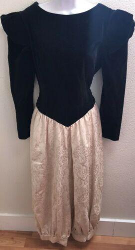 vtg jumpsuit abbi taylor black 5 6 floral embossed dressy occasion 80s 90s