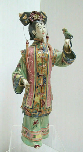 RARE Gorgeous Vintage Shiwan Chinese Porcelain Woman Figurine Artist Signed